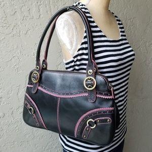 Rafe New York Black Leather Shoulder Bag Pink Trim